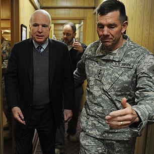 John McCain and Lt. Gen. William Caldwell