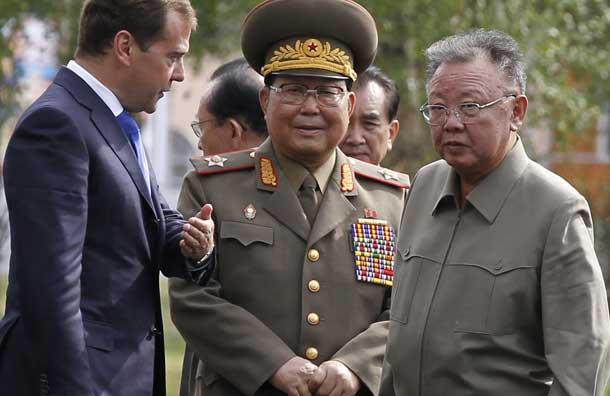 Presedintele rus Dmitrii Medvedev, aliat de nadejde al dictatorului nord-coreean Kim Jong Il
