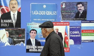 Election posters in Baku, Azerbaijan