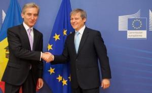 Premierul Republicii Moldova, Iurie Leanca impreuna cu Dacian Ciolos, comisarul european pentru Agricultura