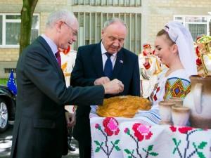 Presedintele Consiliului European, Herman van Rompuy si presedintele RM, Nicolae Timofti la Chisinau