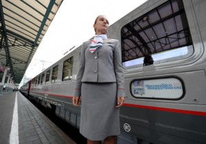 A hostess of a new luxury train running