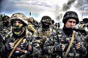 Crisis in Ukraine...epa04188687 Ukrainian soldiers stay near of