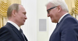 Russian President Vladimir Putin (L) welcomes Germany's Foreign Minister Frank-Walter Steinmeier during a meeting at the Kremlin in Moscow, on March 23, 2016.