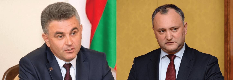 Liderul de la Tiraspol, Vadim Krasnoselskii, și omologul său de la Chișinău, Igor Dodon, se războiesc mediatic pentru favorurile politice ale Kremlinului
