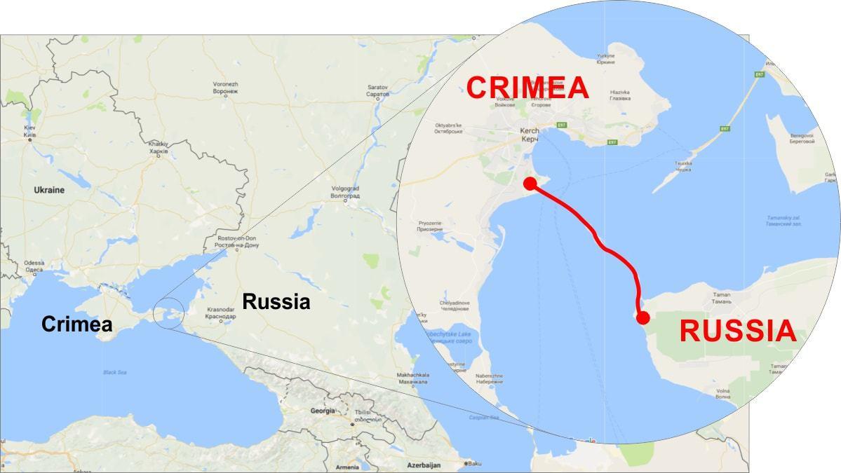 Podul peste strâmtoarea Kerci, strategic pentru continuarea ocupației rusești în Crimeea